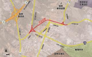 ↑台中市龍井區中部科學工業園區西南向聯外道路位置圖