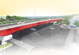 ↑跨越臺灣大道高架橋模擬示意