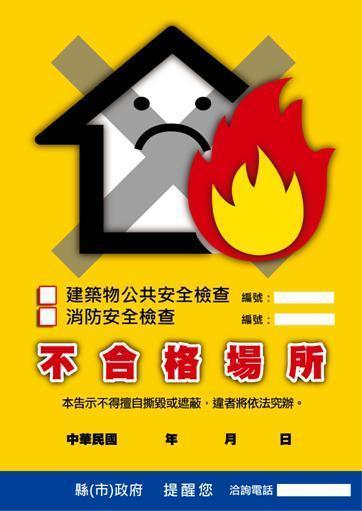 附圖、建築物公共安全檢查及消防安全檢查不合格張貼告示
