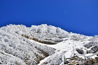 The white snow in Yushan National Park .